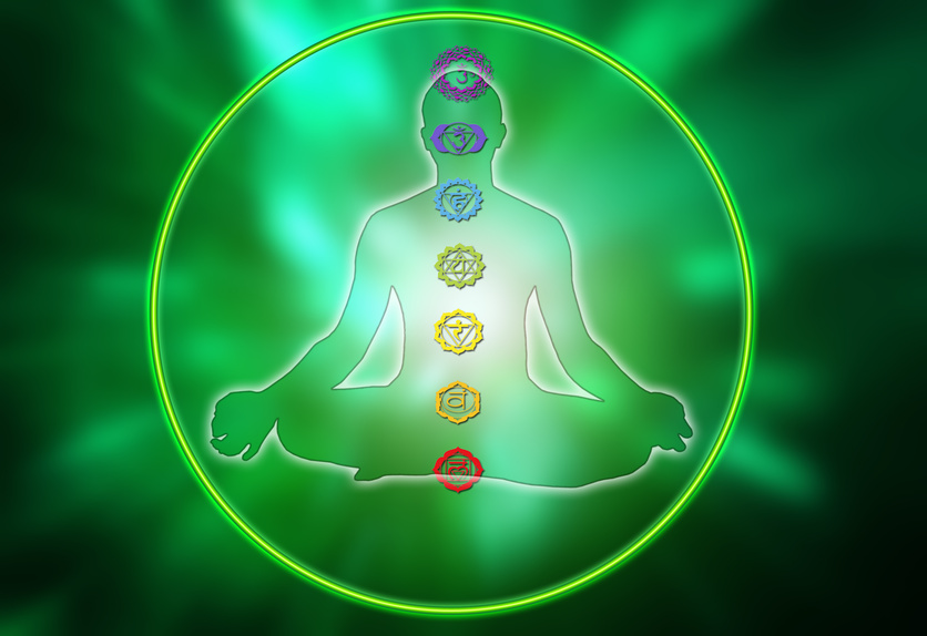 male silhouette figure in yoga position inside a circle with the chakras symbols
